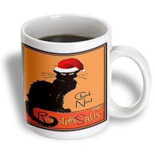 Nouveau Ceramic - 3dRose Le Chat Noel - advertising, art nouveau, black cat, cat, cats, chat noir, le chat, Ceramic Mug, 15-ounce