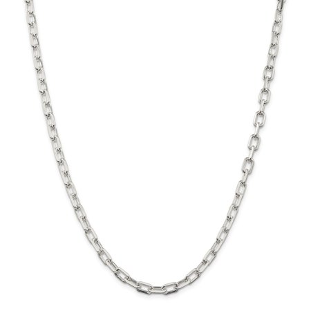 Roy Rose Jewelry Sterling Silver 5.5mm Fancy Diamond-cut Open Link Cable Chain 20