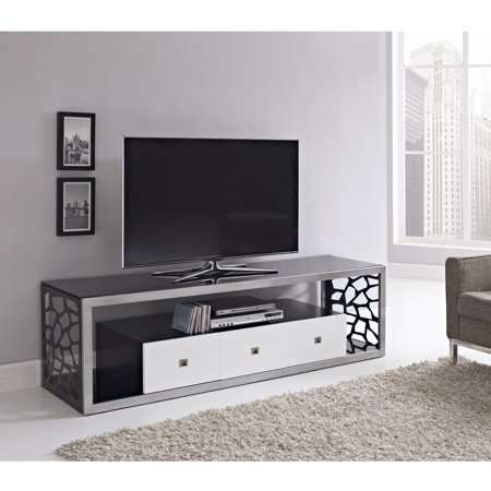 We Furniture Black Glass Modern 70 Inch Tv Stand Walmartcom