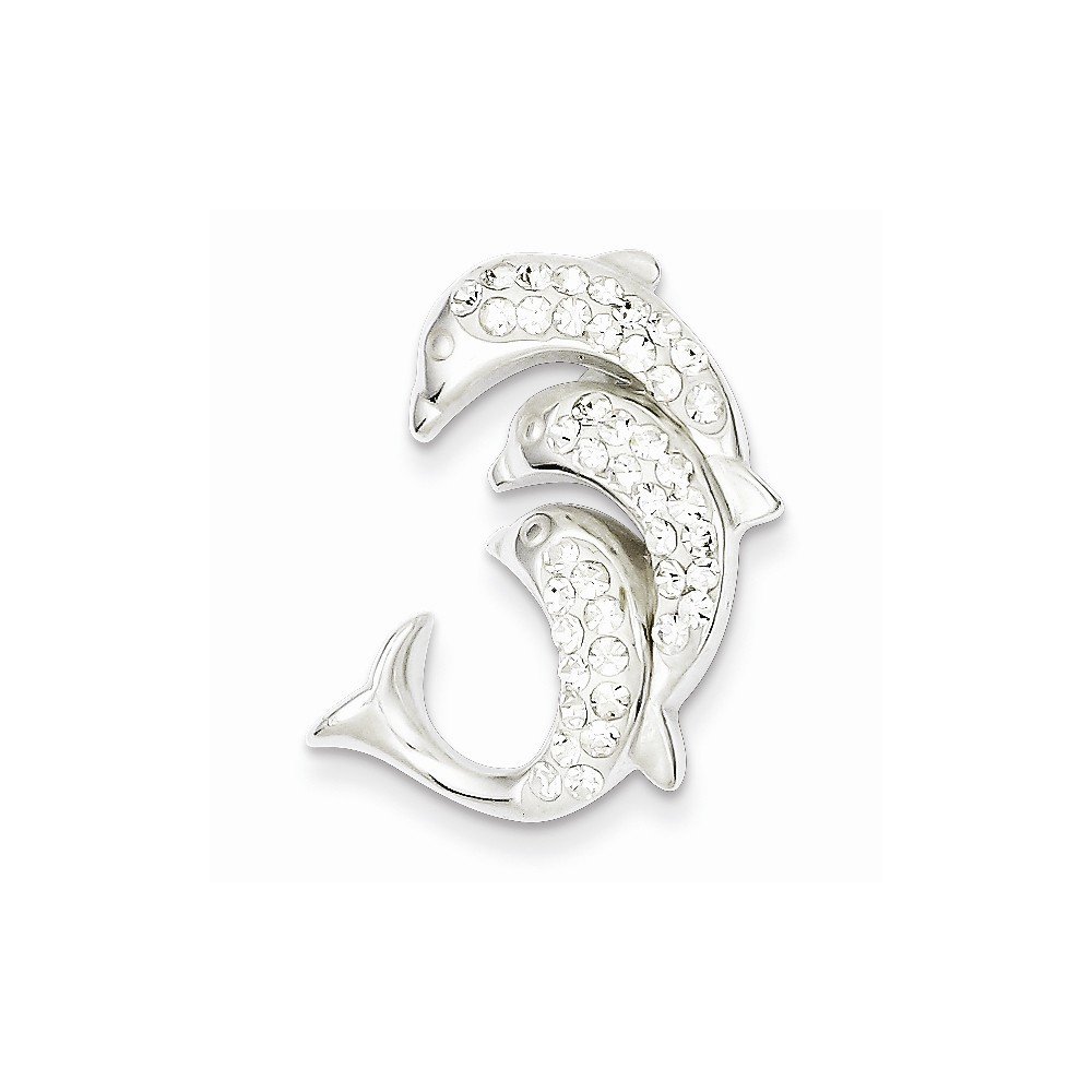 Sterling Silver Stellux Crystal Triple Dolphin Pendant