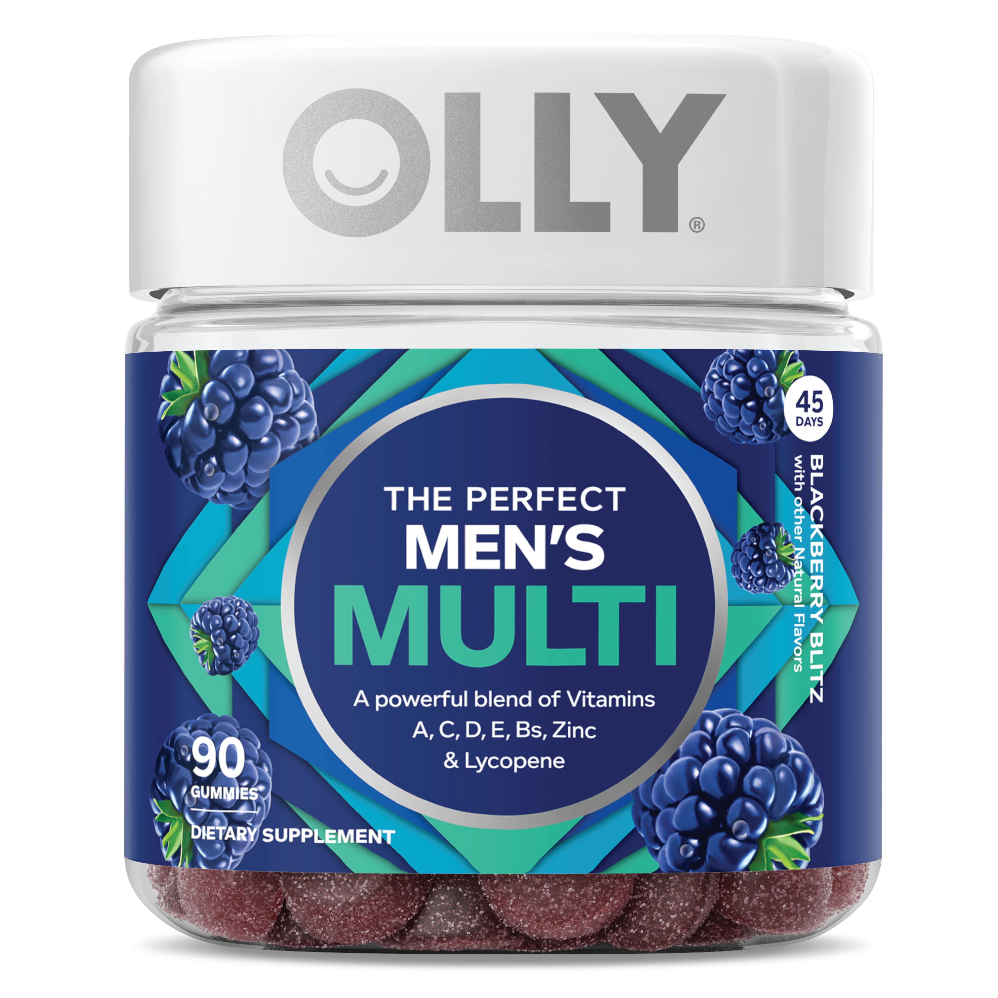 OLLY The Perfect Men's Multi, Multivitamin Gummies, Blackberry, 90 Ct