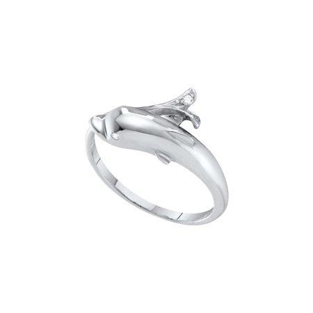 10kt White Gold Womens Round Diamond Dolphin Fish Animal Wrap Ring .03