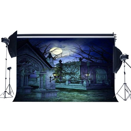 ABPHOTO Polyester 7x5ft Gothic Backdrop Shining Moon Night Leaves Vine Old Tree Branch Gloomy Scary Happy Halloween Party Photography Background Kids Adults Masquerade Photo Studio Props