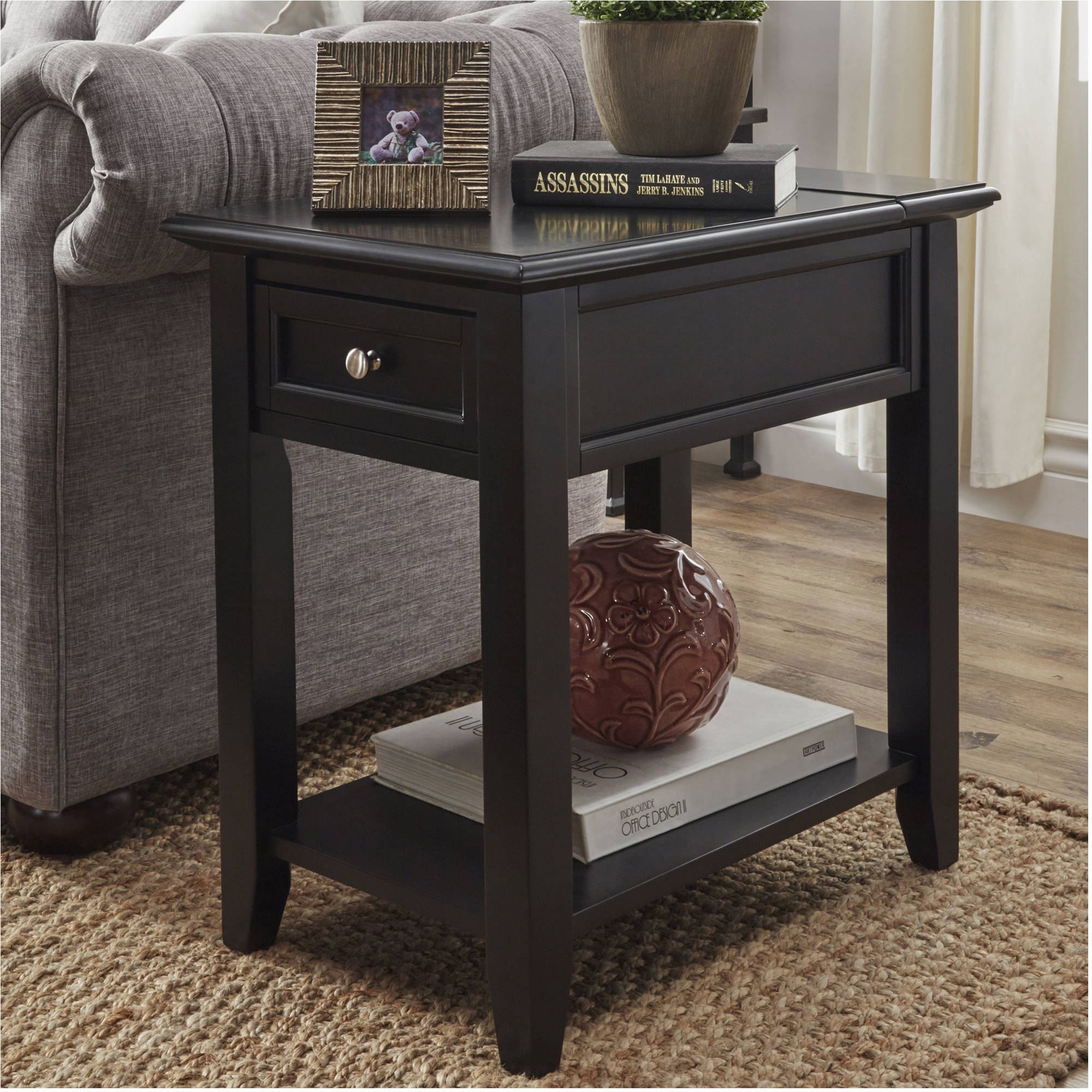 chelsea lane end table with power outlet, multiple colors