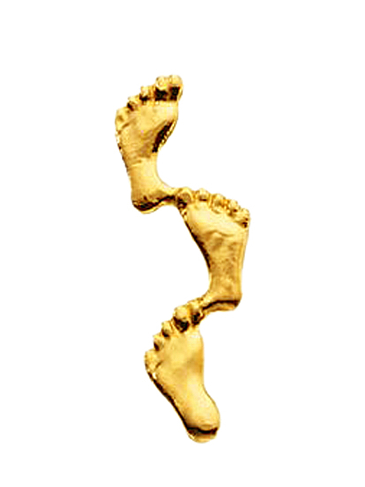 14K Yellow Gold Footprints Pin Brooch by