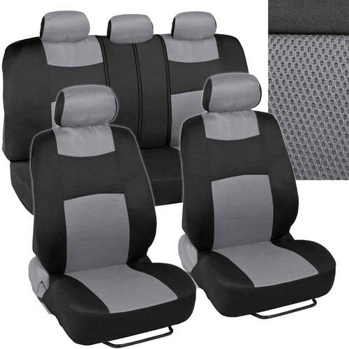 BDK Rome Sport Seat Covers for Car, SUV and Van, Sporty Racing Style Stripes, Split Bench, Side Airbag Compatible