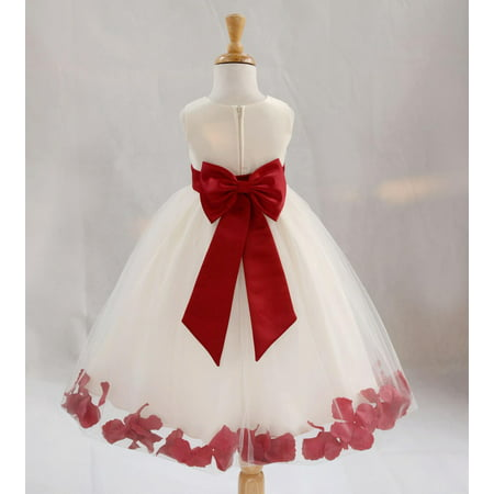 Ekidsbridal Satin Ivory Apple Red Tulle Petal Christmas Junior Bridesmaid Recital Easter Holiday Wedding Pageant Communion Princess Birthday Girl Clothing Baptism 302T size 2 Flower Girl Dress