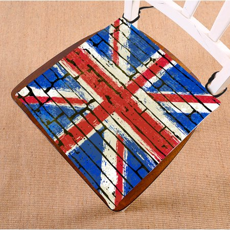 Union Jack Cushions (YKCG Grunge British Union Jack Flag UK Flag Brick Wall Seat Cushion Chair Cushion Floor Cushion Twin Sides 16x16)