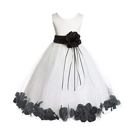 Ekidsbridal Ivory Tulle Floral Rose Petals Formal Flower Girl Dress Wedding Tulle Dress Junior Bridesmaid Dress Holy Baptism Dress First Communion Dress Easter Summer Dresses Birthday Girl Dresses 007](Girls First Holy Communion Dresses)