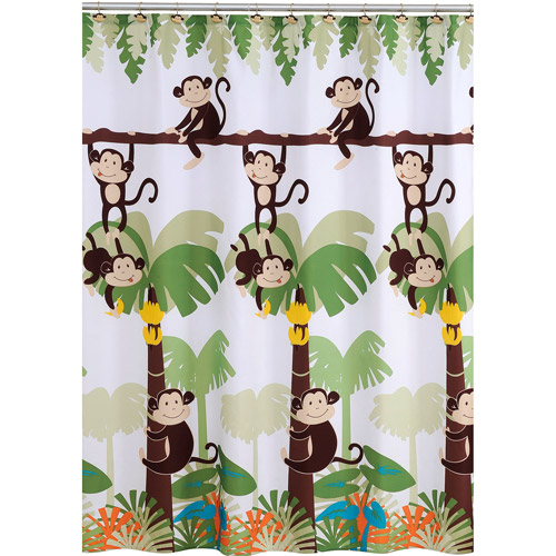 Mainstays Monkey Decorative Bath Collection   Shower Curtain