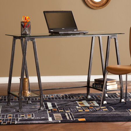 Southern Enterprises Metal And Glass A Frame Desk
