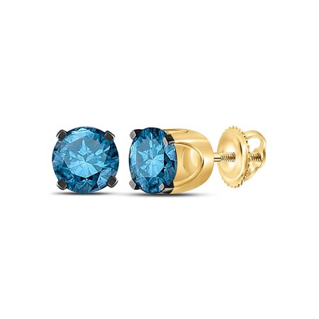 10kt Yellow Gold Womens Round Blue Color Enhanced Diamond Solitaire Stud Earrings 1.00 Cttw Fine Jewelry Ideal Gifts For Women Gift Set From Heart 100 Fine Jewelry Earrings