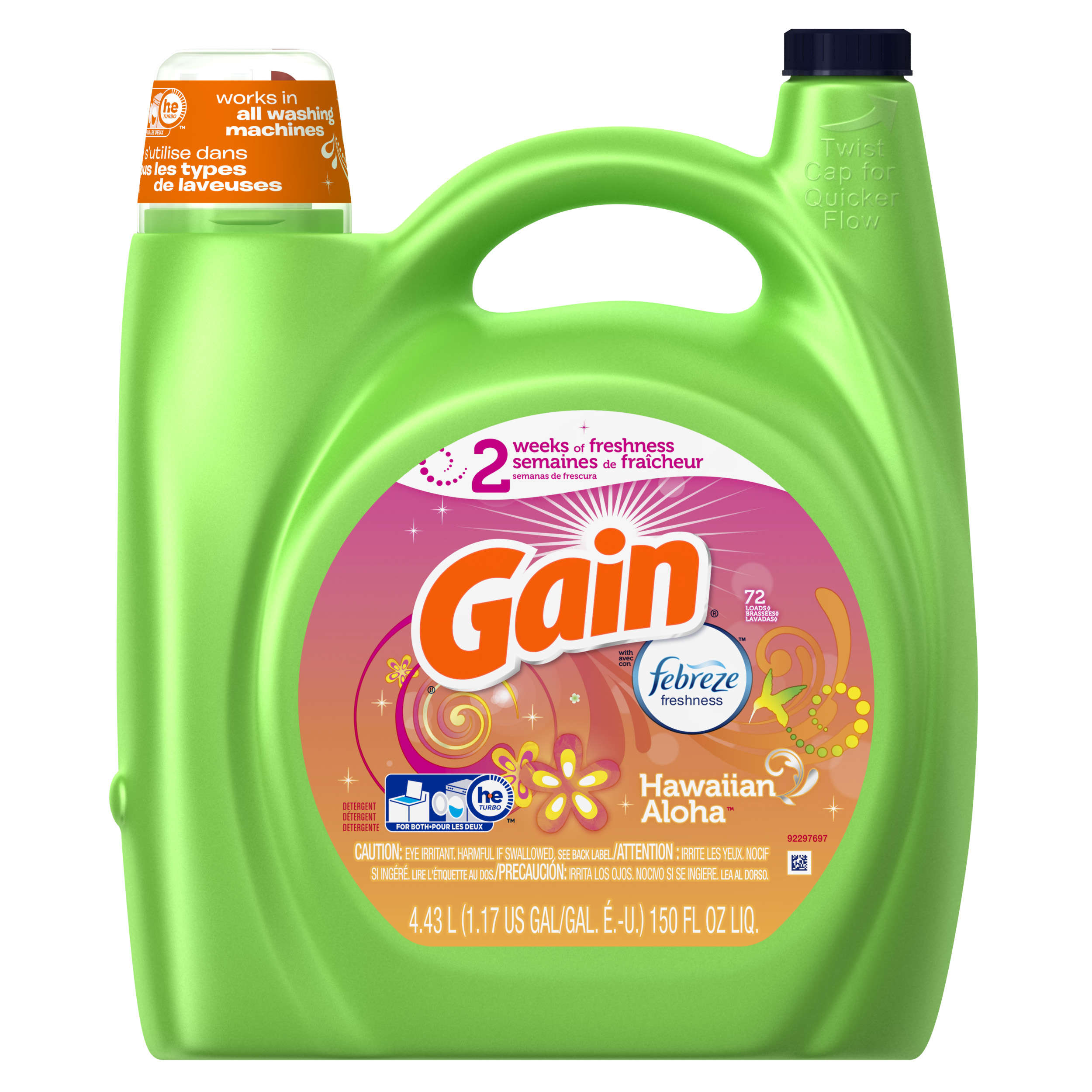 Gain Liquid Laundry Detergent with Febreze Freshness, Hawaiian Aloha Scent, 72 loads, 150oz