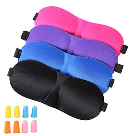 4Pcs Lightweight Comfortable Adjustable Eye Mask with 8 Pack Ear Plugs MultiA
