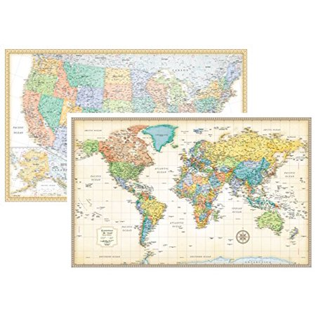 Rand Mcnally Classic United States Usa And World Wall Map Set   Laminated