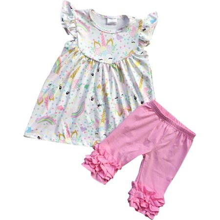 Girls 2 Pieces Pant Set Unicorn Dress Ruffle Pants Outfit Clothing Set Off White 2T XS (201334) (2t Outfits)