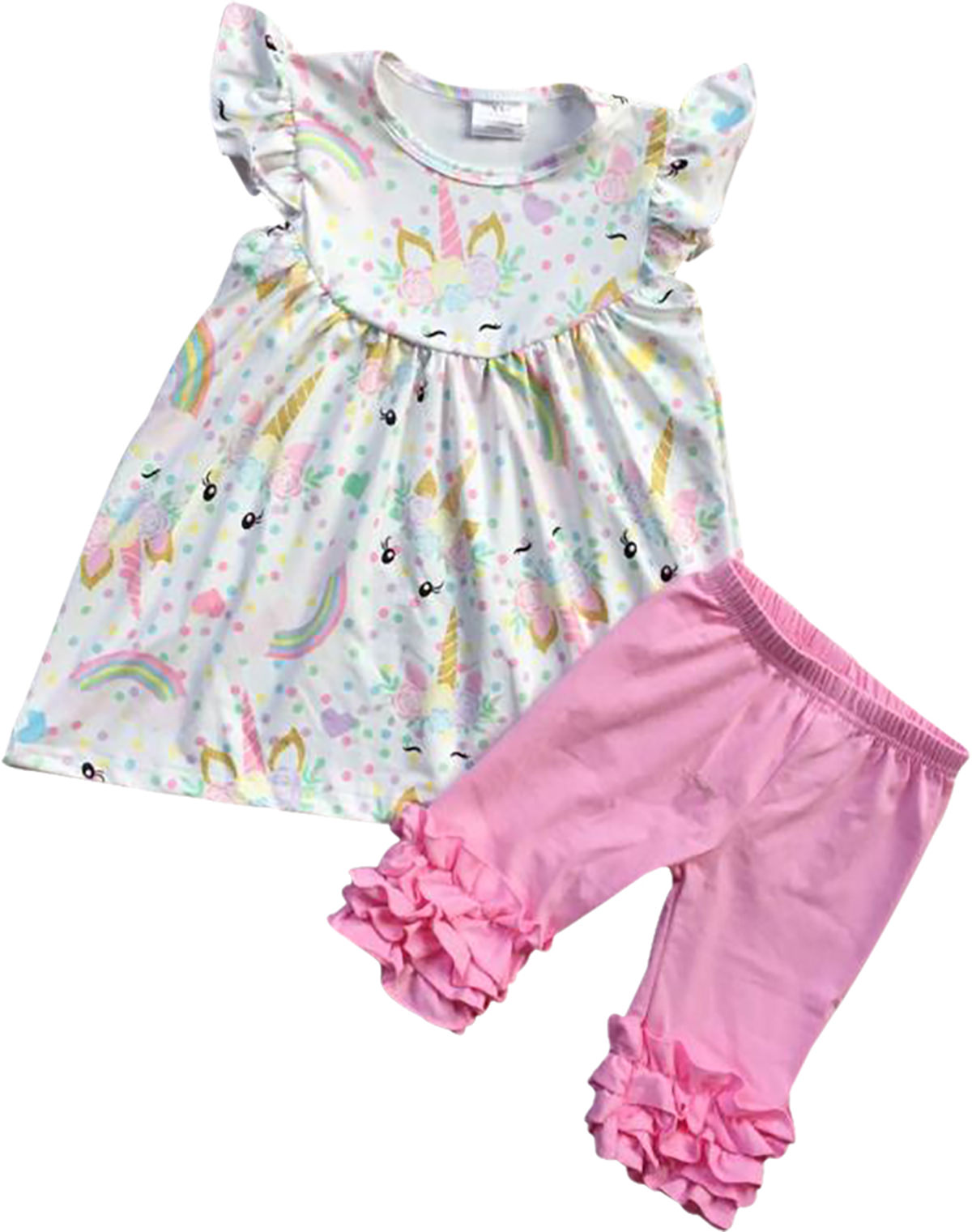 Girls 2 Pieces Pant Set Unicorn Dress Ruffle Pants Outfit Clothing Set Off White 2T XS (201334)