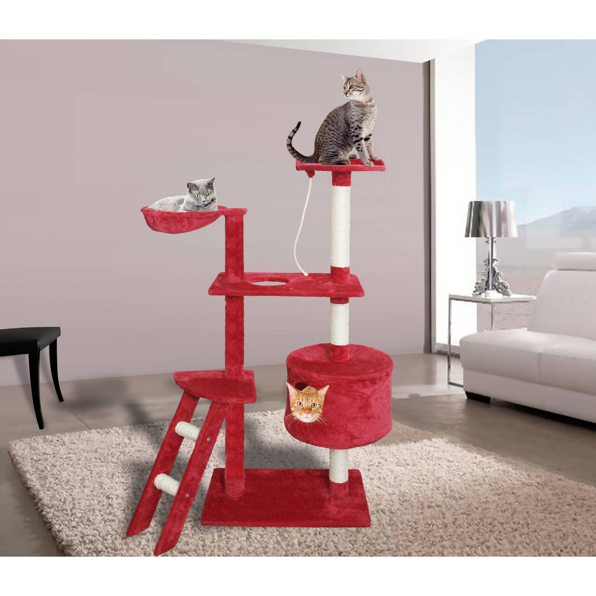 "Premium Cat Tree Tower Condo Scratch Furniture, 58"", Red and White"