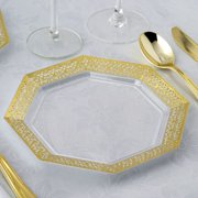 BalsaCircle 12 pcs 8-Inch Clear with Gold Lace Rim Plastic Octagonal Plates - Disposable Wedding Party Catering Tableware