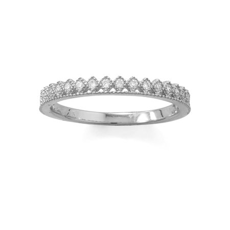 Crown Design Band Ring Cubic Zirconia Rhodium Over Sterling Silver Diamond-shape
