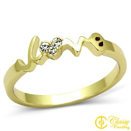 Classy Not Trashy® Love Heart Design Clear Crystal Brass Women's Ring Size 7 ()