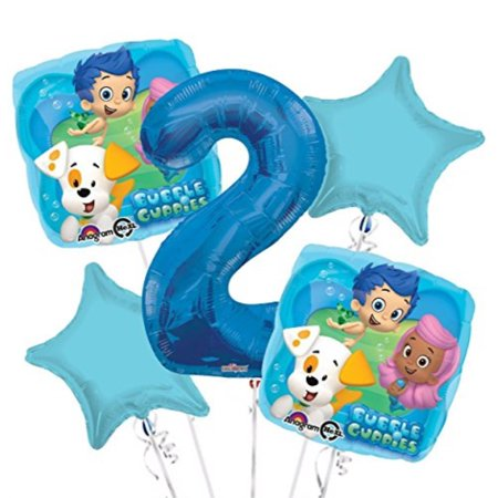 Bubble Guppies Balloon Bouquet 2nd Birthday 5 pcs Party Supplies](Bubble Guppie Balloons)