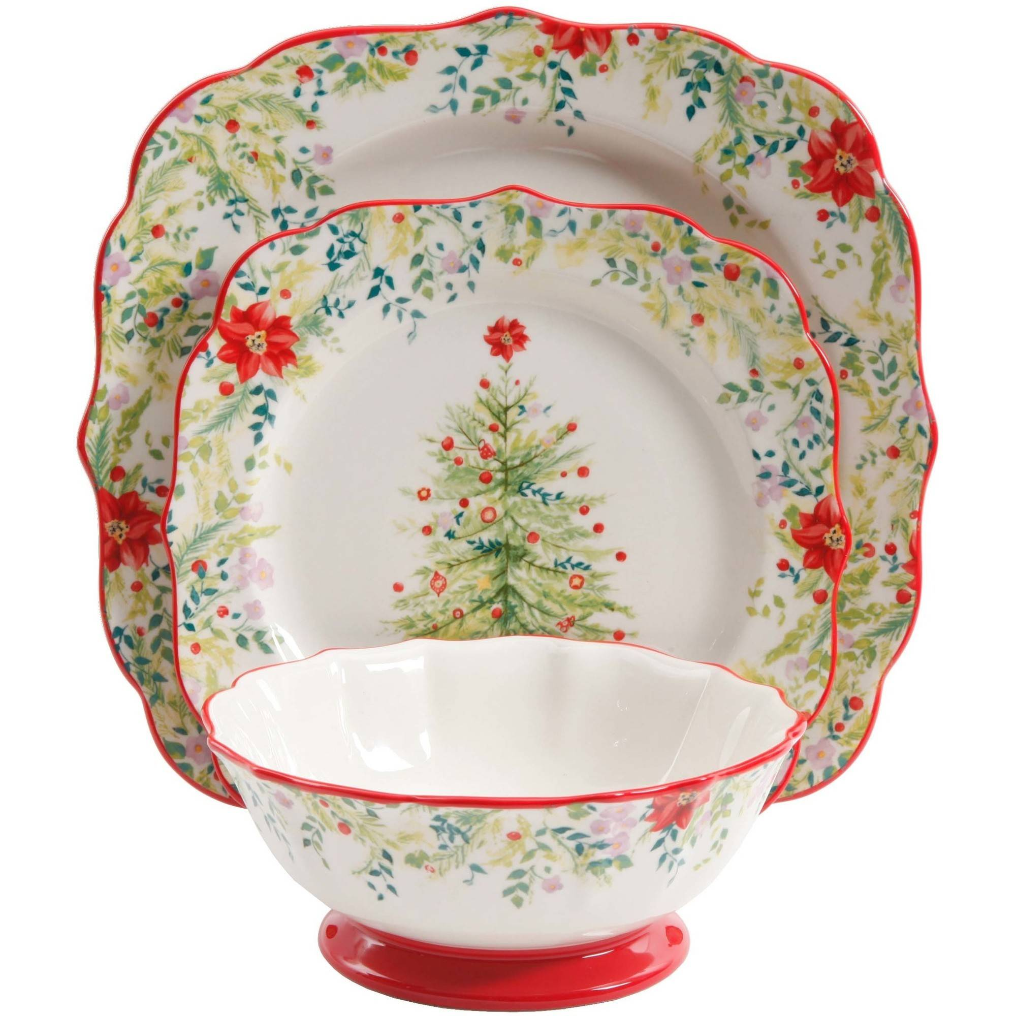 The Pioneer Woman Holiday Cheer 12-Piece Dinnerware Set - Walmart.com