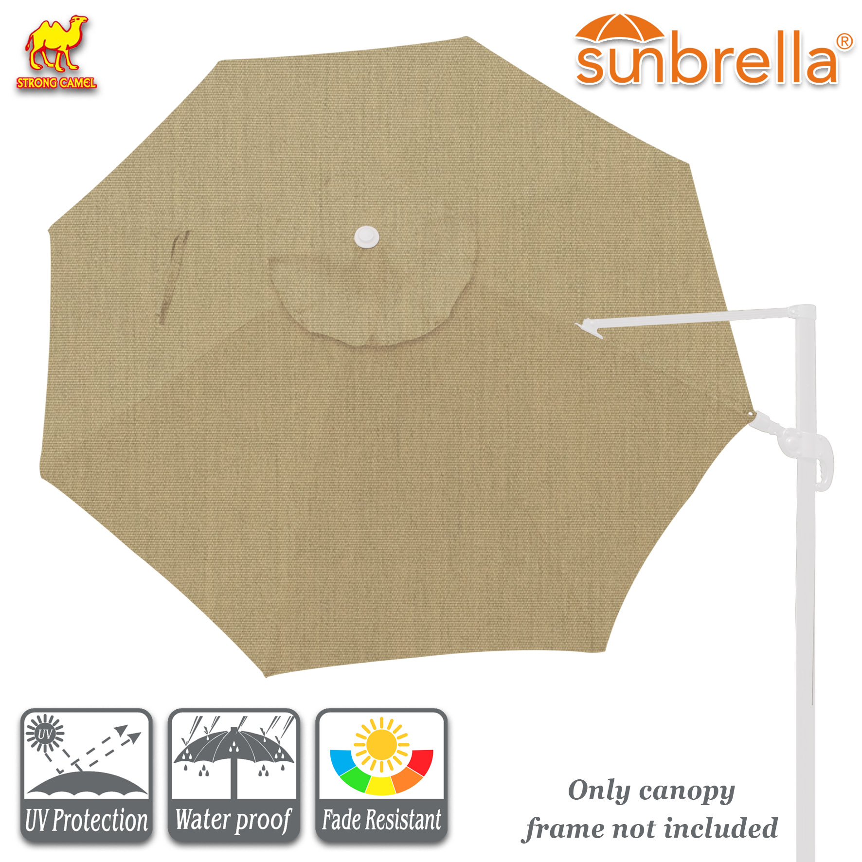 Strong Camel Replacement Canopy for 11.5ft 8 Ribs Rome Cantilever Patio Umbrella Parasol Top Sunbrella Cover