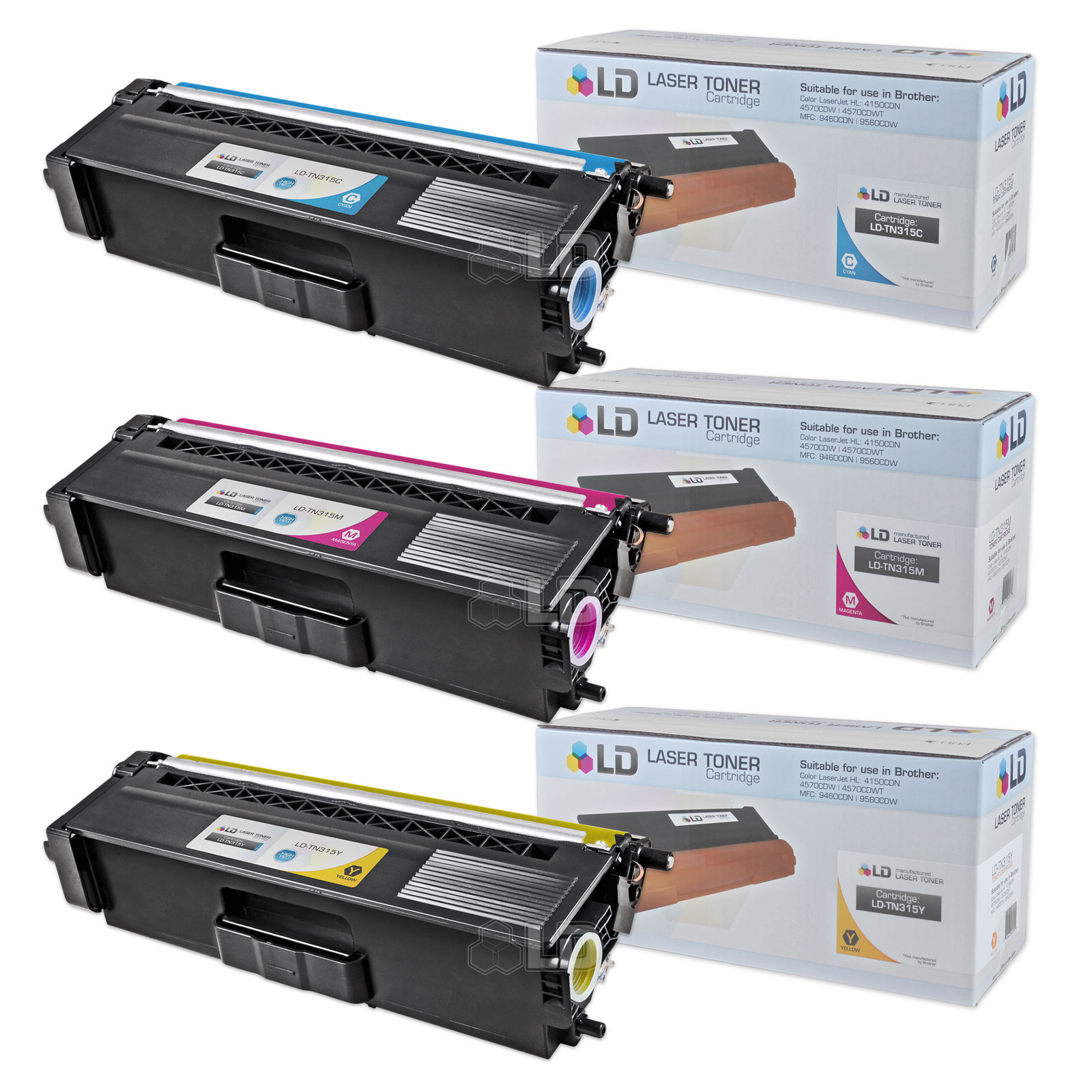 LD Compatible Brother TN315 (TN310) Set of 3 High Yield Color Cartridges: 1 Cyan, 1 Magenta & 1 Yellow for HL-4150cdn,