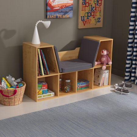 Kidkraft Kids Bookshelf With Reading Nook Multiple Colors Walmart Com