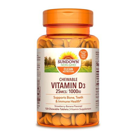 Sundown Naturals Chewable Vitamin D3 Tablets, Strawberry Banana, 1000 IU, 120 (Best Source Of Vitamin D3)