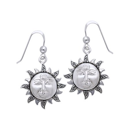 8266b249d Jewelry Trends - Sterling Silver with Rainbow Moonstone Celtic Knot  Celestial Sun Dangle Earrings - Walmart.com