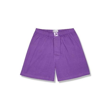 Biagio Mens Solid PURPLE INDIGO Color BOXER 100% Knit Cotton Shorts Cotton Boxer Knit Shorts