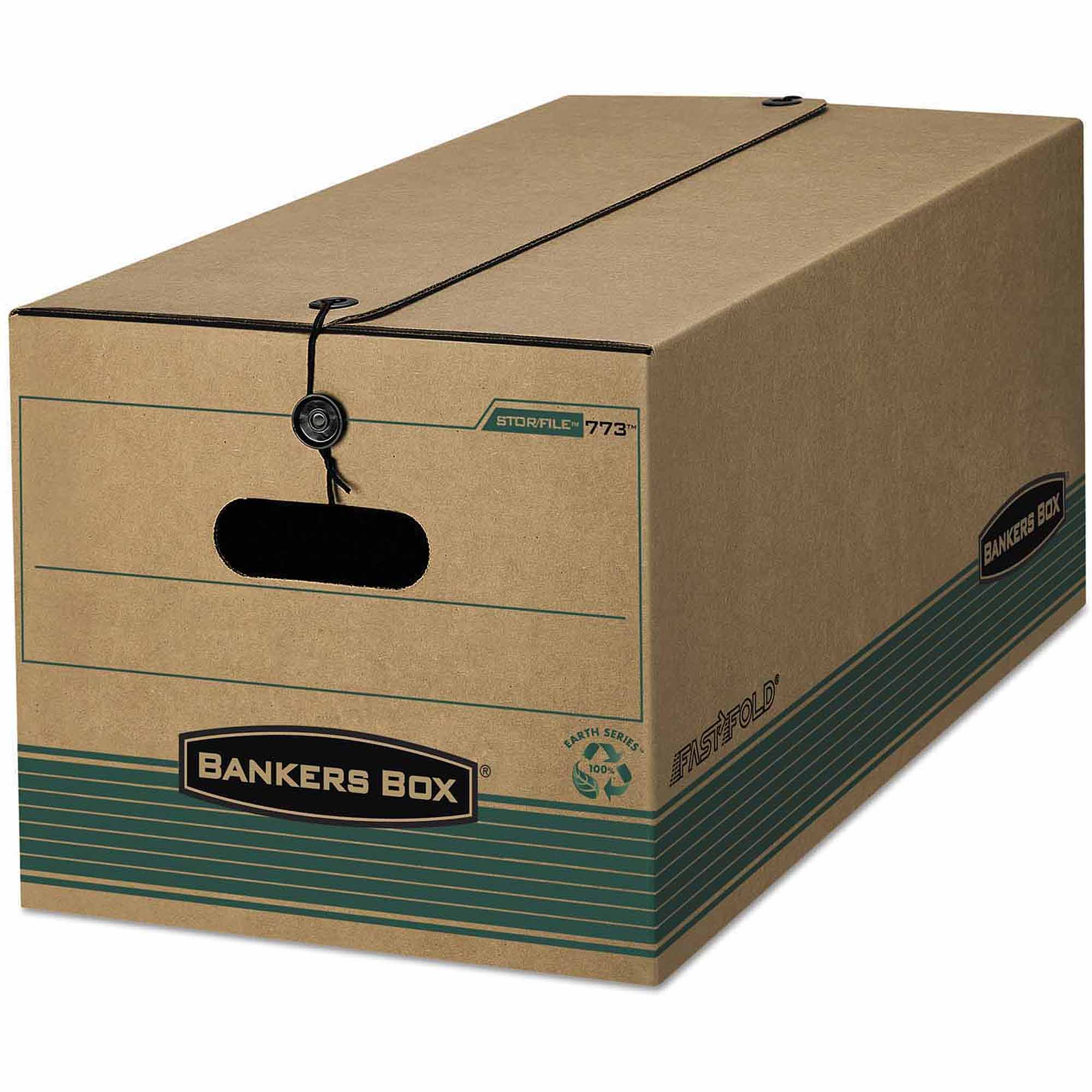 Bankers Box Stor/File Extra Strength Storage Box, Legal, String/Button, Kraft/Green, 12-Count