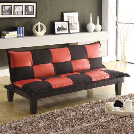 Home Source Red And Black Leather Sofa Bed In Microfiber