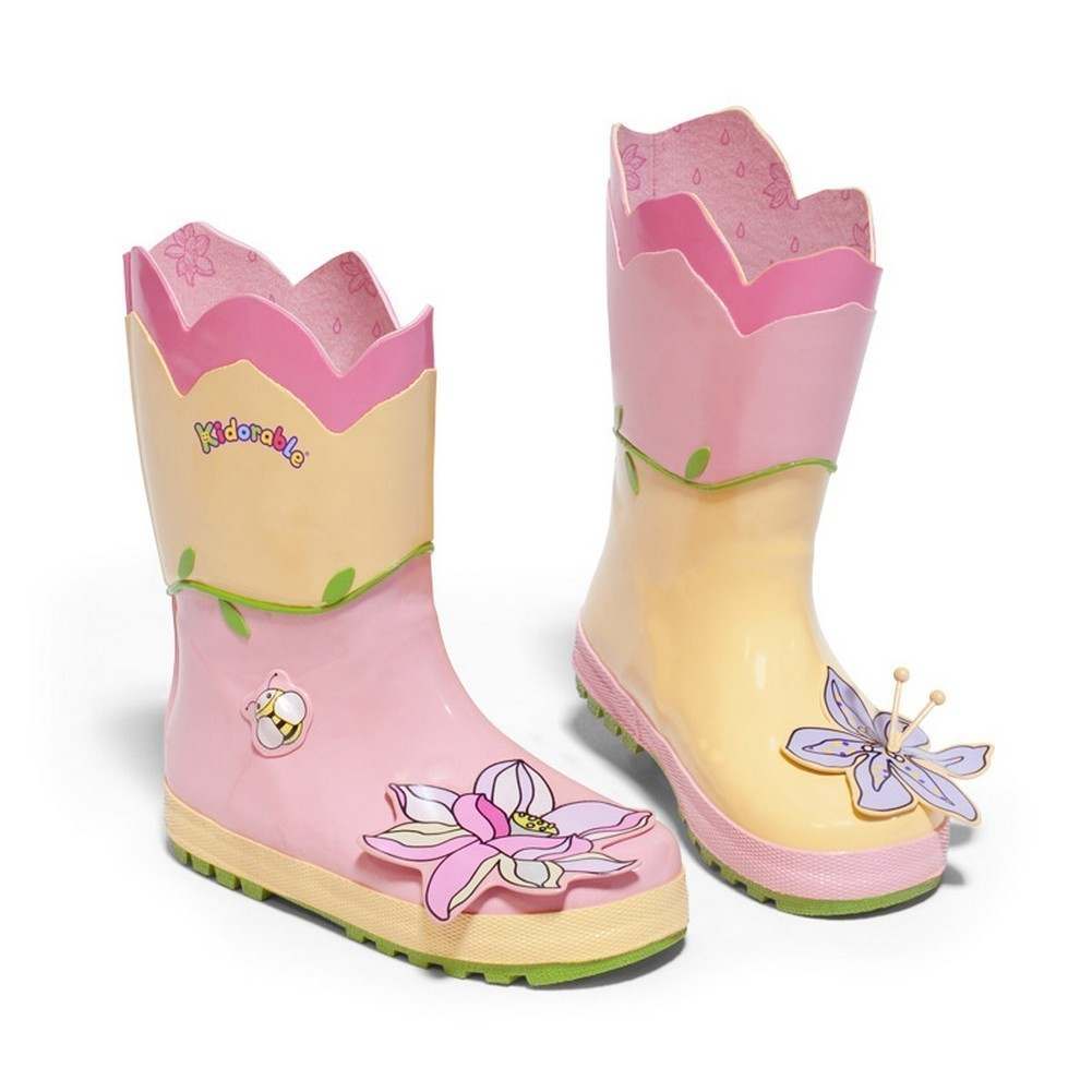 Kidorable Girls Pink Lotus Flower Applique Lined Rubber Rain Boots 11-2 Kids