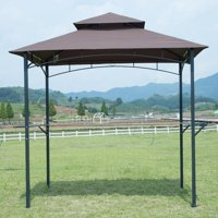 Brown 8'x 5'BBQ Grill Gazebo Barbecue Canopy BBQ Grill Tent W/ Air Vent F85