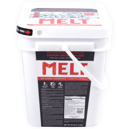 (MELT 25 lb Bucket Calcium Chloride Pellets Professional Strength Ice Melter)