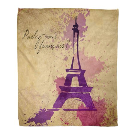 ASHLEIGH Throw Blanket 58x80 Inches Black Paris Grunge Elegance Ink Splash of Eiffel Tower and Calligraphy Brown Warm Flannel Soft Blanket for Couch Sofa Bed