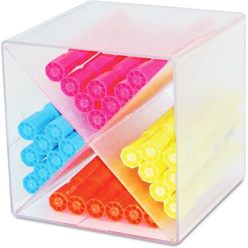 Deflecto Desk Cube with X Dividers, Clear Plastic, 6 x 6 x 6