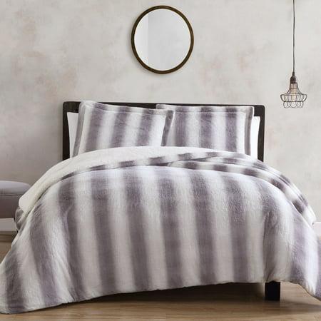 Olivia Ombre 3 Pc  Faux Fur/Sherpa Reverse Queen Comforter Set