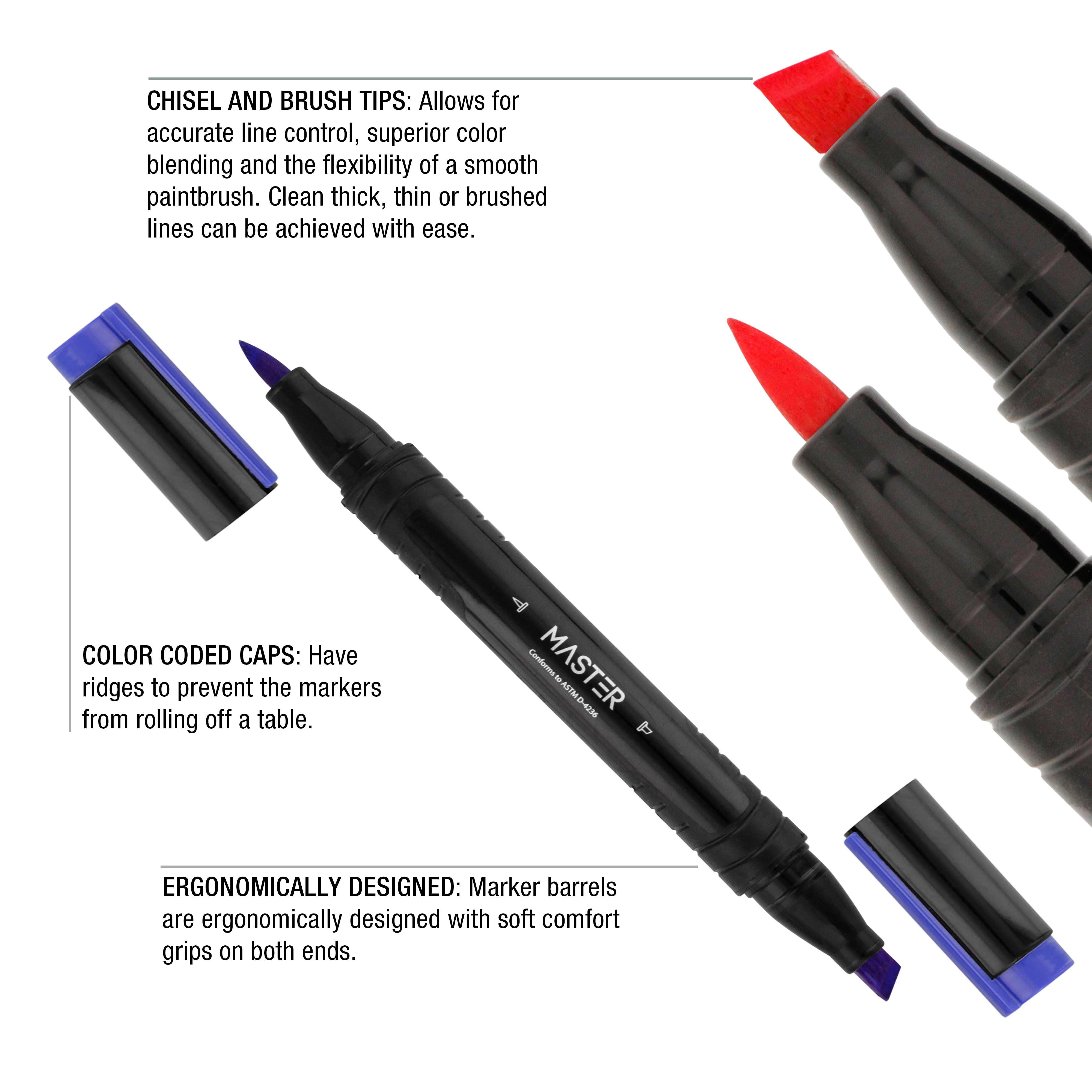 Artist Illustration Drawing Dual Tip Artist BLACK Markers Chisel Brush Pack of 3