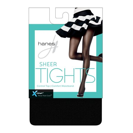 No Bind Waistband Control Top - Hanes Womens X-Temp Sheer Control Top Tights with Comfort Waistband, TL, Black