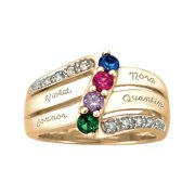 Personalized Family Jewelry Women's Birthstone Luxe Ring available in Sterling Silver, Gold over Silver, Yellow and White Gold