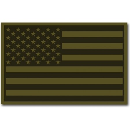 Rubber Patch - RapDom USA Flag Rubber H&L Velcro-Back Patch [2-Pack - Olive 2 - 3x2