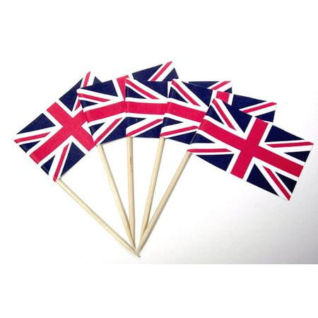 200 Union Jack British Sandwich Party Flag Food Cup Cake Cocktail Sticks