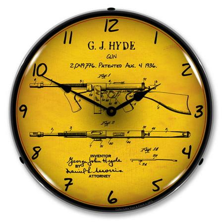 Thompson Sub Machine Gun Patent LED Wall Clock, Retro/Vintage, Lighted, 14