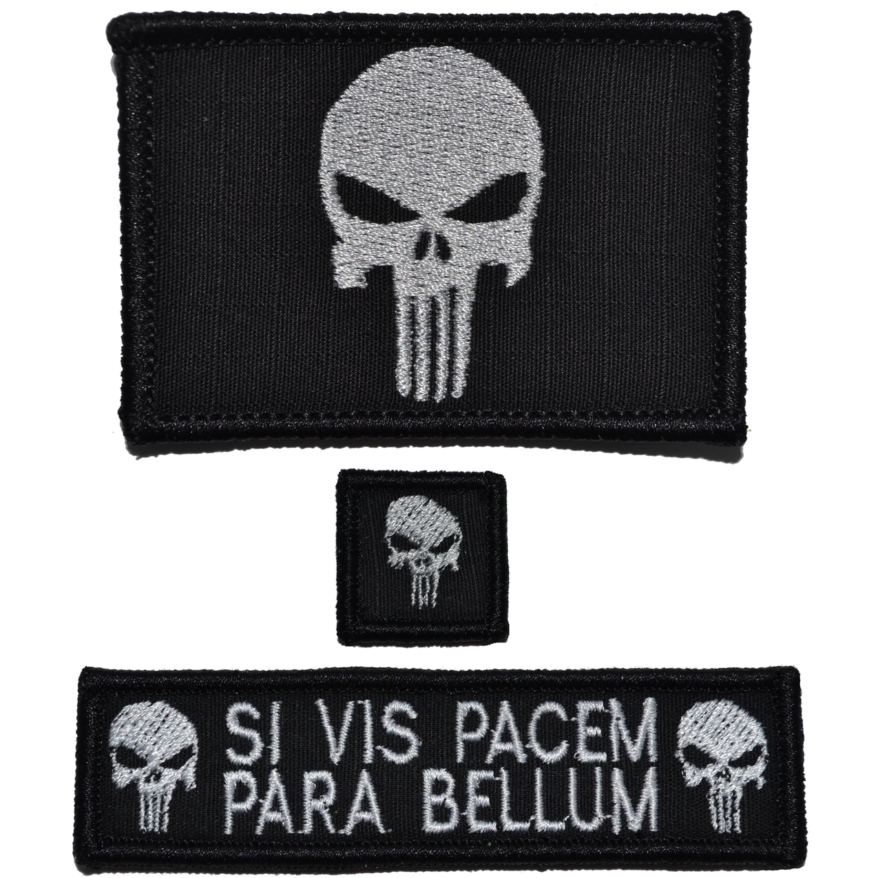 Patch Set: Punisher Skull 2x3, Si Vis Pacem 1x3.75, Punisher Skull 1x1