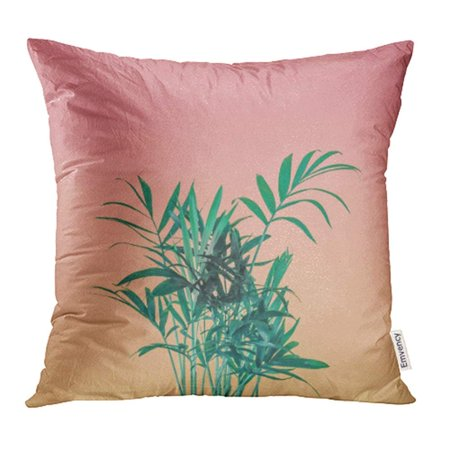 USART Green Palm Tree Leaves on Pink Pastel Sky Minimal Greenery Concept Colorful Pillowcase Cushion Cover 16x16 inch ()
