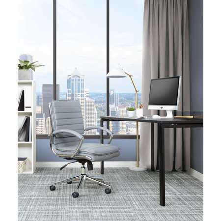 - Armless Mid Back Manager's Faux Leather Chair in Charcoal with Chrome Base